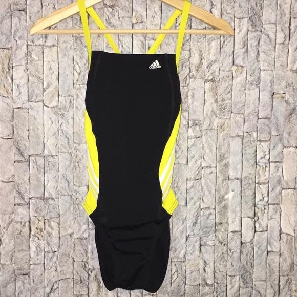 on sale 86549 2ef3b adidas Performance 3 Stripe One-Piece Swimsuit 28